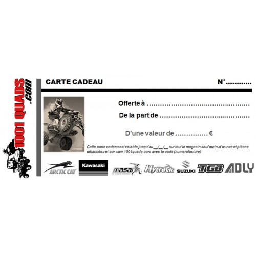 CARTE CADEAU 1001QUADS.COM 80€